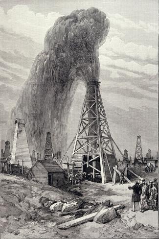 Petroleum Oil Wells, Baku, Caspian: A Fountain of Petroleum Oil, The Illustrated London News, 1886--Stretched Canvas Print