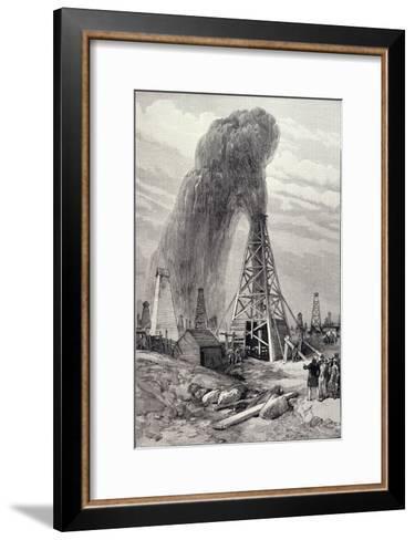 Petroleum Oil Wells, Baku, Caspian: A Fountain of Petroleum Oil, The Illustrated London News, 1886--Framed Art Print