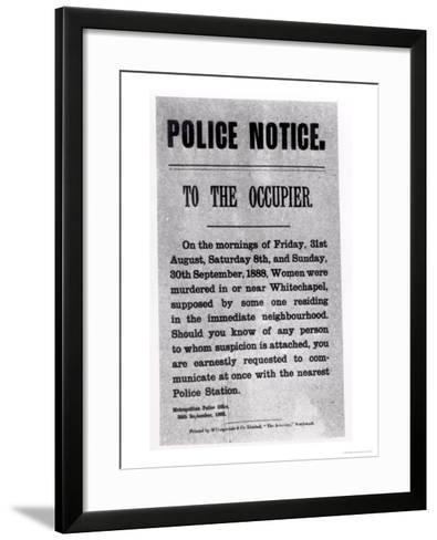 Police Notice to the Occupier Relating to Murders in Whitechapel, 30th September 1888--Framed Art Print