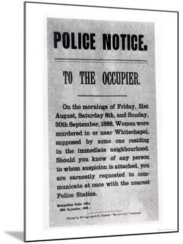 Police Notice to the Occupier Relating to Murders in Whitechapel, 30th September 1888--Mounted Giclee Print