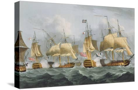 Lord Howe in the Queen Charlotte, 1794, Engraved Sutherland, Jenkins's 'Naval Achievements', 1816-Thomas Whitcombe-Stretched Canvas Print