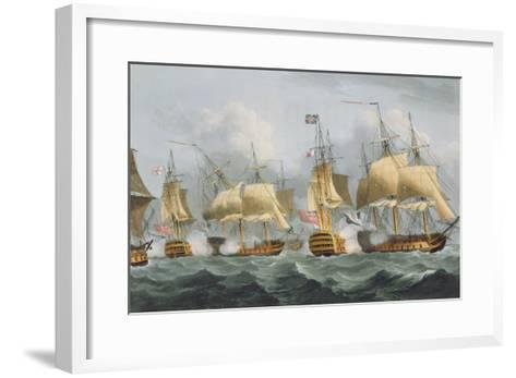 Lord Howe in the Queen Charlotte, 1794, Engraved Sutherland, Jenkins's 'Naval Achievements', 1816-Thomas Whitcombe-Framed Art Print