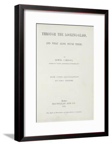 Frontispiece to Alice Through the Looking-Glass by Lewis Carroll--Framed Art Print