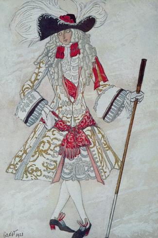Costume Design For Prince Charming at Court, from Sleeping Beauty, 1921-Leon Bakst-Stretched Canvas Print