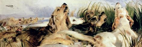 Otter Hounds-Edwin Henry Landseer-Stretched Canvas Print