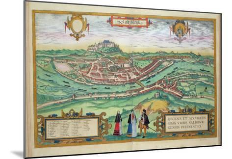 Map of Salzburg, from Civitates Orbis Terrarum by Georg Braun-Joris Hoefnagel-Mounted Giclee Print