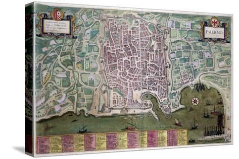 Map of Palermo, from Civitates Orbis Terrarum by Georg Braun-Joris Hoefnagel-Stretched Canvas Print