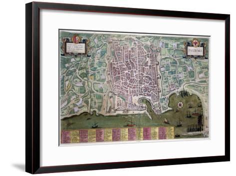 Map of Palermo, from Civitates Orbis Terrarum by Georg Braun-Joris Hoefnagel-Framed Art Print