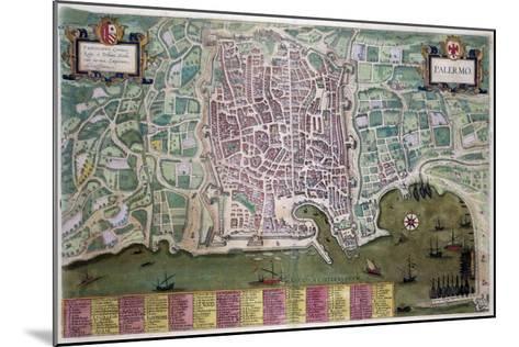Map of Palermo, from Civitates Orbis Terrarum by Georg Braun-Joris Hoefnagel-Mounted Giclee Print