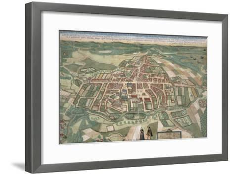 Map of Odense, from Civitates Orbis Terrarum by Georg Braun-Joris Hoefnagel-Framed Art Print