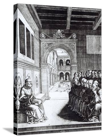 St. Benedict Preaching in the Monastery--Stretched Canvas Print