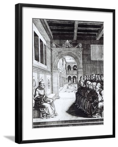 St. Benedict Preaching in the Monastery--Framed Art Print