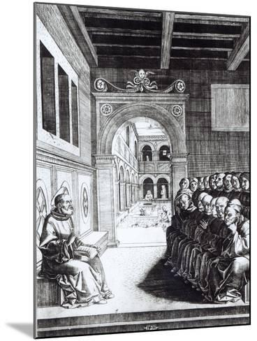 St. Benedict Preaching in the Monastery--Mounted Giclee Print