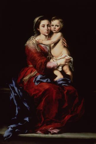 The Virgin of the Rosary, c.1650-Bartolome Esteban Murillo-Stretched Canvas Print