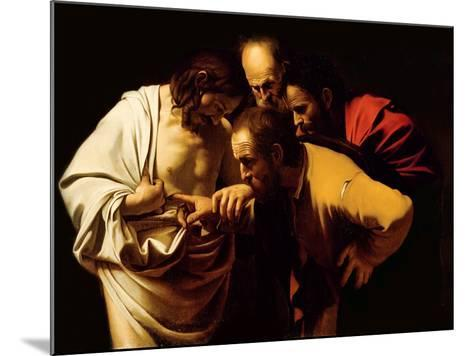 The Incredulity of St. Thomas, 1602-03-Caravaggio-Mounted Giclee Print