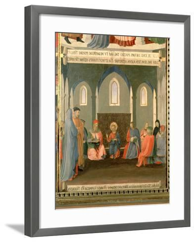 Christ Among the Doctors, Panel One of the Silver Treasury of Santissima Annunziata, c.1450-53-Fra Angelico-Framed Art Print