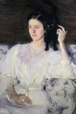 Sita and Sarita, or Young Girl with a Cat, 1893-94-Cecilia Beaux-Stretched Canvas Print