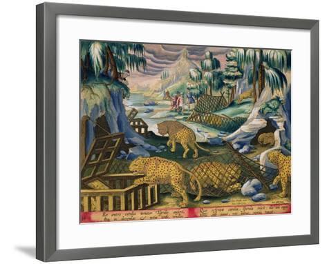 Capturing Leopards, Plate 15 from Venationes Ferarum, Avium, Piscium-Jan van der Straet-Framed Art Print