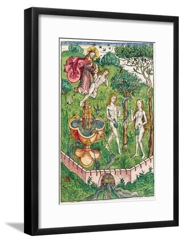 The Creation and the Temptation of Adam and Eve, c.1491-Michael Wolgemut Or Wolgemuth-Framed Art Print
