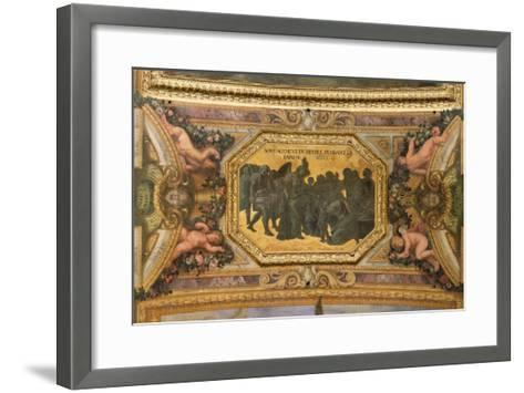 Helping the People During the Famine of 1662, Ceiling Painting from the Galerie Des Glaces-Charles Le Brun-Framed Art Print