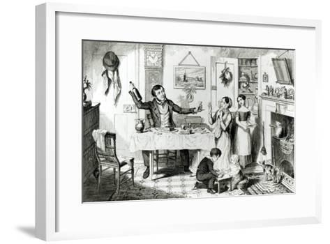 The Bottle, Plate I, the Husband Induces His Wife Just to Take a Drop, 1847-George Cruikshank-Framed Art Print
