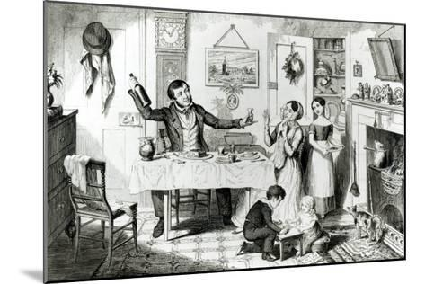 The Bottle, Plate I, the Husband Induces His Wife Just to Take a Drop, 1847-George Cruikshank-Mounted Giclee Print