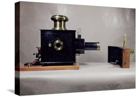 View of One of the First Cinema Projectors, Manufactured by August--Stretched Canvas Print