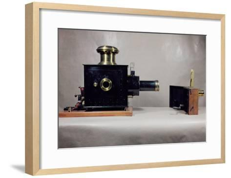 View of One of the First Cinema Projectors, Manufactured by August--Framed Art Print
