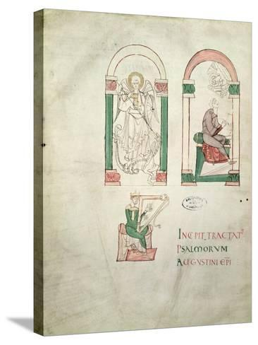 St. Michael, St. Augustine Writing and St. David Playing the Harp, 'saint Augustin Super Psalmos--Stretched Canvas Print