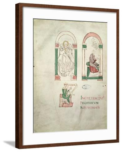 St. Michael, St. Augustine Writing and St. David Playing the Harp, 'saint Augustin Super Psalmos--Framed Art Print