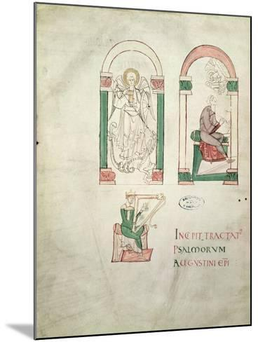 St. Michael, St. Augustine Writing and St. David Playing the Harp, 'saint Augustin Super Psalmos--Mounted Giclee Print