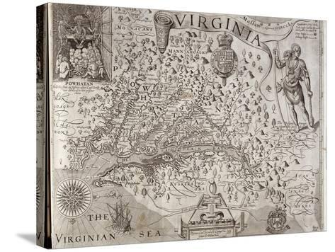 Map of Virginia, Discovered and Described by Captain John Smith, 1606, Engraved by William Hole-John Smith-Stretched Canvas Print