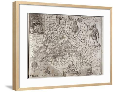 Map of Virginia, Discovered and Described by Captain John Smith, 1606, Engraved by William Hole-John Smith-Framed Art Print