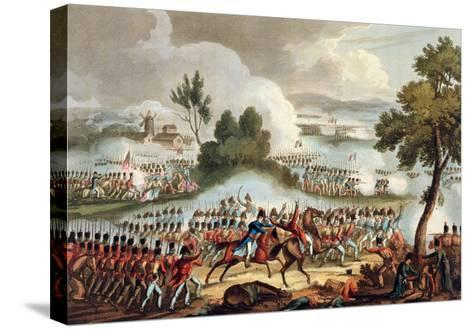 The Left Wing of the British Army, at Battle of Waterloo, 1815, J. Jenkins, Engrave, T. Sutherland-William Heath-Stretched Canvas Print