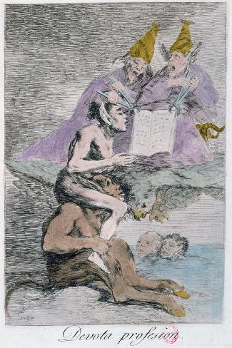 The Devout Profession, Plate 70 of Los Caprichos, Late 18th Century-Francisco de Goya-Stretched Canvas Print