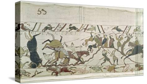 The English and French Fall Side by Side in Battle, from the Bayeux Tapestry--Stretched Canvas Print