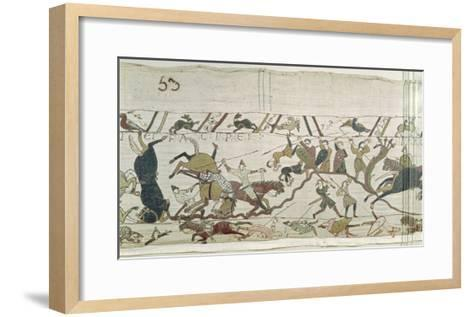The English and French Fall Side by Side in Battle, from the Bayeux Tapestry--Framed Art Print