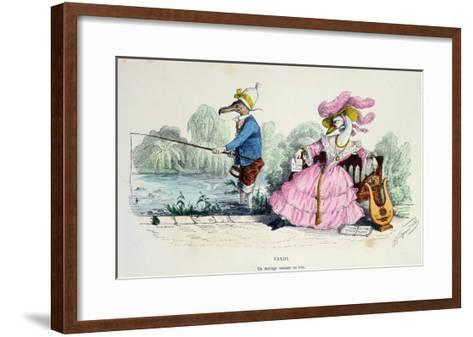 Marriage by the Book, Caricature from Les Metamorphoses du Jour Series, Reprinted in 1854- Grandville-Framed Art Print