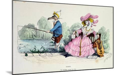 Marriage by the Book, Caricature from Les Metamorphoses du Jour Series, Reprinted in 1854- Grandville-Mounted Giclee Print