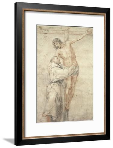 St. Francis Rejecting the World and Embracing Christ-Bartolome Esteban Murillo-Framed Art Print