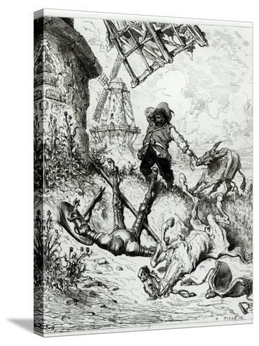 Don Quixote and the Windmills, from Don Quixote de La Mancha by Miguel Cervantes-Gustave Dor?-Stretched Canvas Print