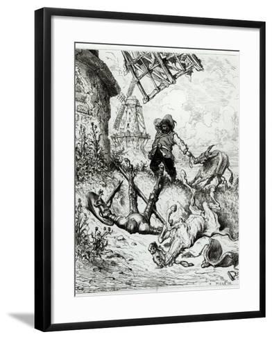 Don Quixote and the Windmills, from Don Quixote de La Mancha by Miguel Cervantes-Gustave Dor?-Framed Art Print