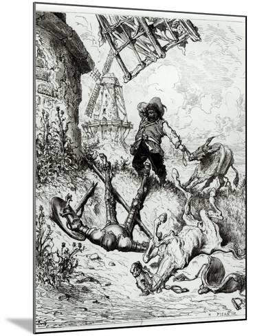 Don Quixote and the Windmills, from Don Quixote de La Mancha by Miguel Cervantes-Gustave Dor?-Mounted Giclee Print