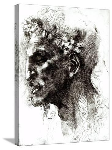 Head of a Satyr-Michelangelo Buonarroti-Stretched Canvas Print