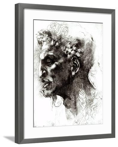 Head of a Satyr-Michelangelo Buonarroti-Framed Art Print