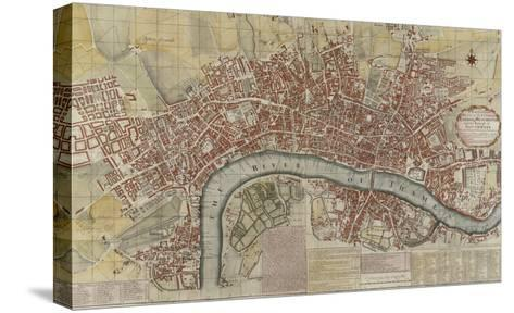 New and Exact Plan of the Cities of London and Westminster and the Borough of Southwark, 1725--Stretched Canvas Print