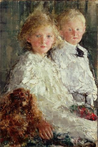 Portrait of Elizabeth and Charles Williamson with Their Pet Dog-Antonio Mancini-Stretched Canvas Print