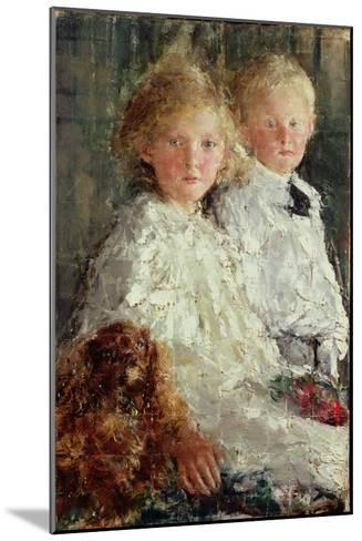 Portrait of Elizabeth and Charles Williamson with Their Pet Dog-Antonio Mancini-Mounted Giclee Print