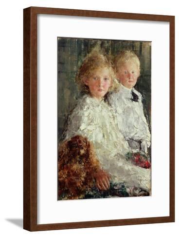 Portrait of Elizabeth and Charles Williamson with Their Pet Dog-Antonio Mancini-Framed Art Print
