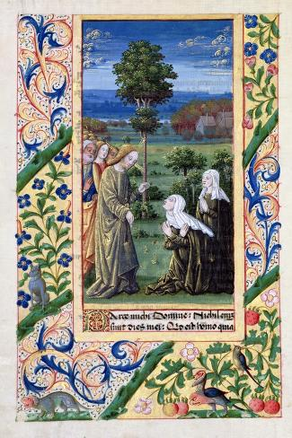Martha and Mary Telling Jesus of the Death of Lazarus, Book of Hours of Louis D'Orleans, 1469-Jean Colombe-Stretched Canvas Print